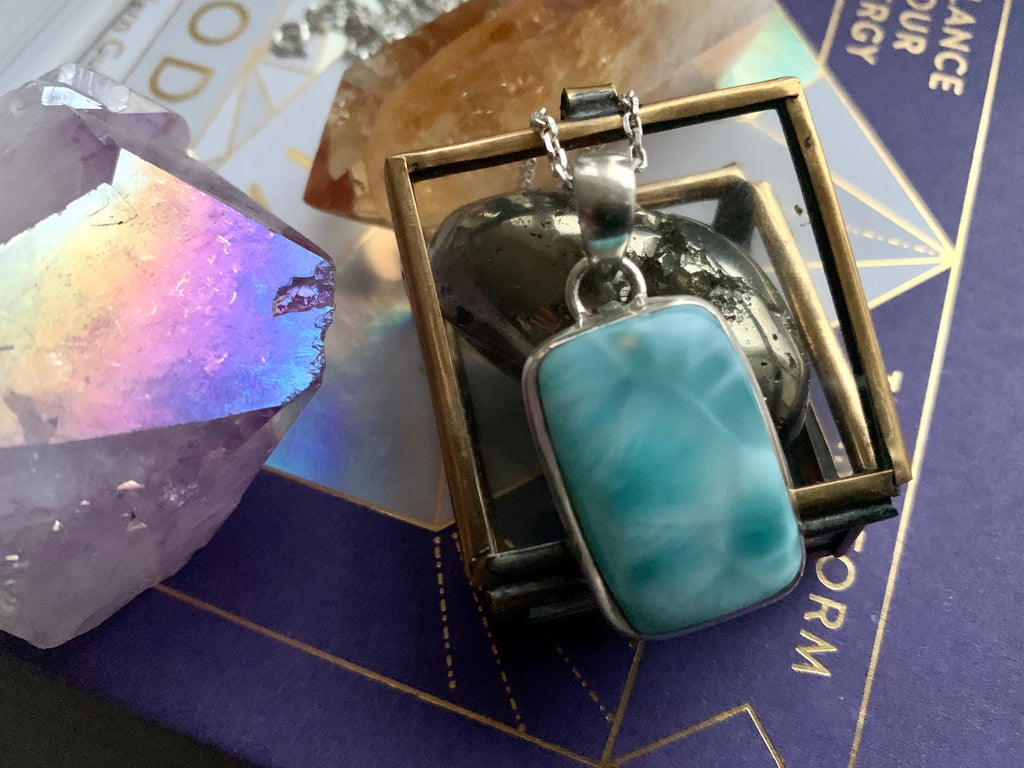 Larimar Rectangle Akoni Pendant - Jewels & Gems