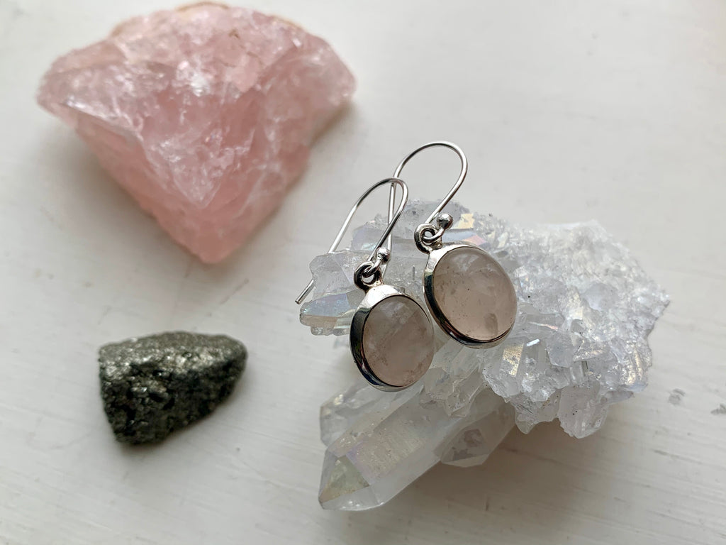 Rose Quartz Ariel Earrings - Oval - Jewels & Gems