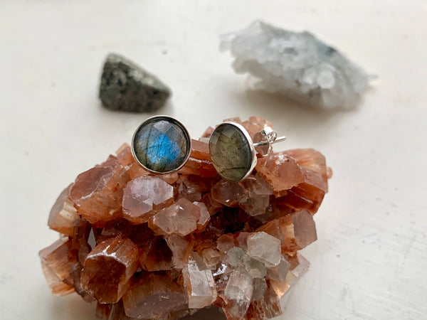 Labradorite Akoni Studs Faceted - Drop / Oval / Square / Round - Jewels & Gems