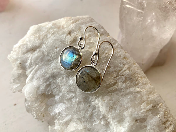 Labradorite Akoni Earrings - Round / Oval - Jewels & Gems