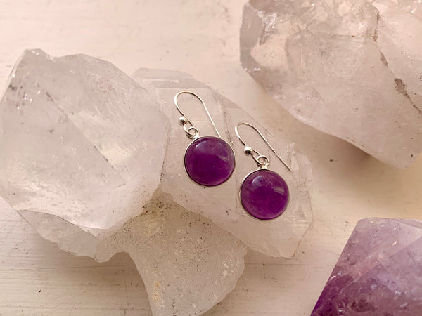 Amethyst Round Akoni Earrings - Jewels & Gems
