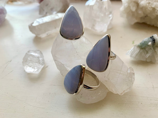 Blue Lace Agate Akoni Ring - Drop - Jewels & Gems