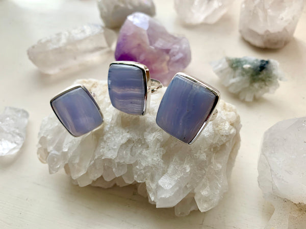 Blue Lace Agate Akoni Ring - Square - Jewels & Gems