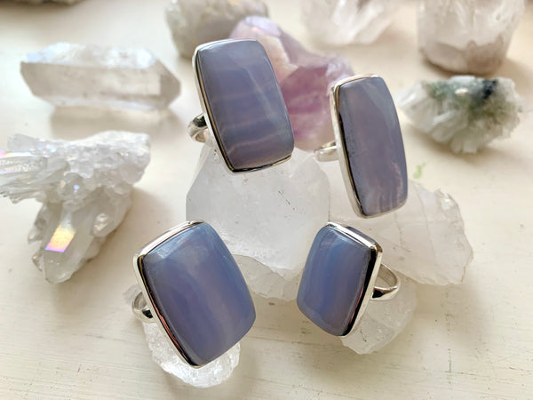 Blue Lace Agate Akoni Ring - Rectangular - Jewels & Gems