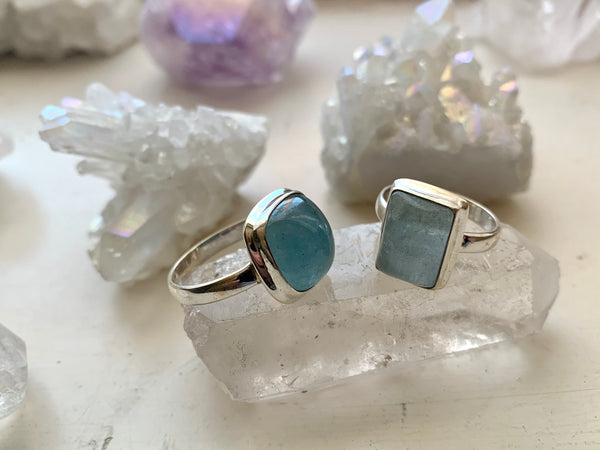 Aquamarine Ari Ring - Small Square & Rectangular - Jewels & Gems
