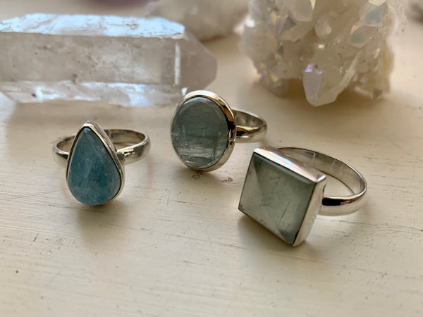 Aquamarine Akoni Ring - Small Square / Oval / Drop - Jewels & Gems