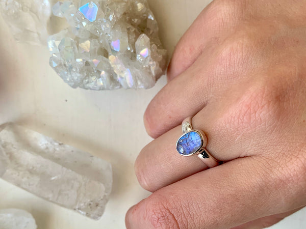 Raw Moonstone Akoni Ring - Small Oval - Jewels & Gems