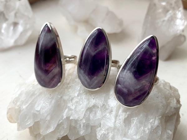 Chevron Amethyst Akoni Ring - Large Drop - Jewels & Gems