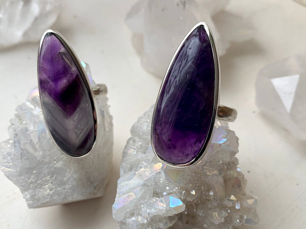 Chevron Amethyst Akoni Ring - Skinny Drop - Jewels & Gems