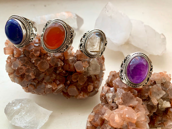 Makani Ring in Amethyst, Carnelian & Rutilated Quartz - Jewels & Gems