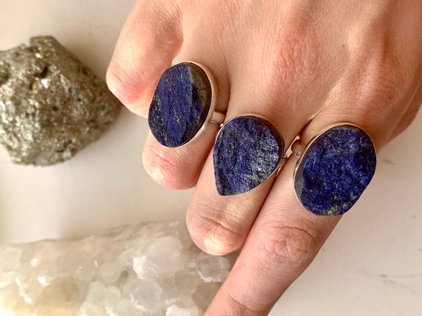 Raw Lapis Lazuli Akoni Ring - Reg. Oval / Teardrop - Jewels & Gems