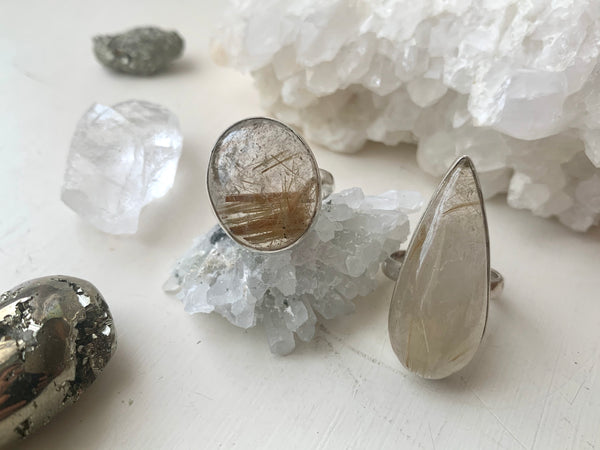 Gold Rutilated Quartz Akoni Rings (One of a kind) - Jewels & Gems