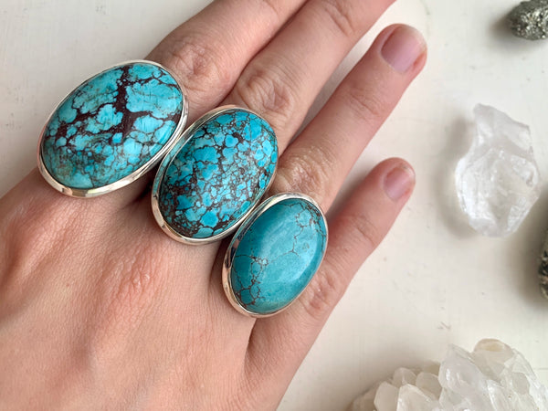 Turquoise Akoni Ring - Large Oval - Jewels & Gems
