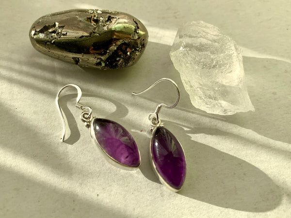 Amethyst Akoni Earrings - Large Marquise - Jewels & Gems