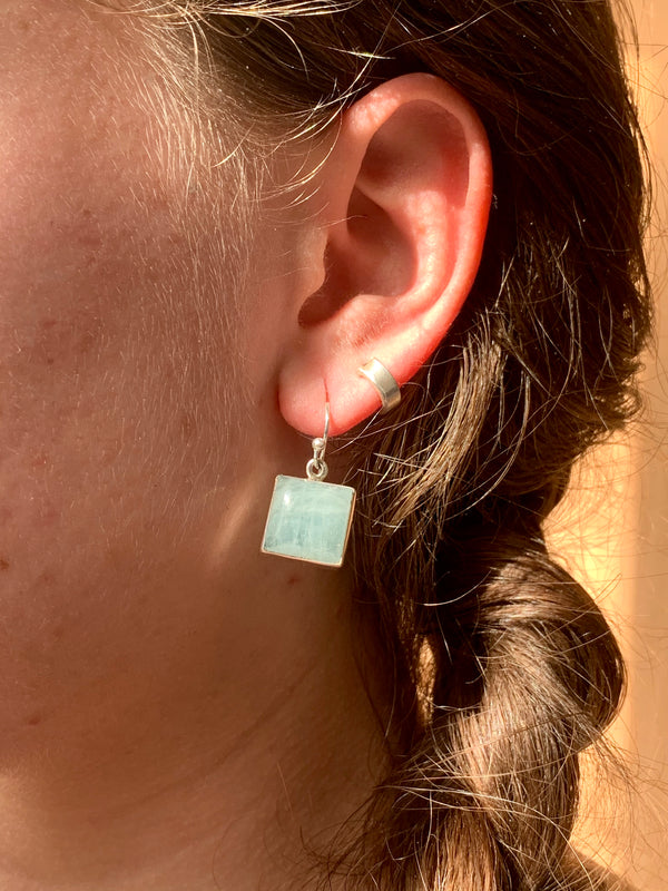 Aquamarine Akoni Earrings - Square - Jewels & Gems