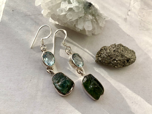 Blue Topaz + Raw Green Apatite Akoni Earrings - Jewels & Gems