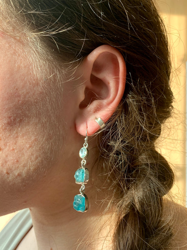 Blue Topaz + Raw Blue Apatite Akoni Earrings - Triple Drop - Jewels & Gems