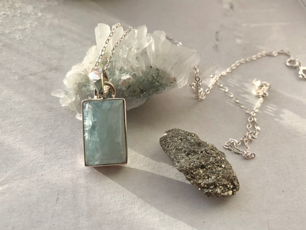 Aquamarine Akoni Pendant - Rectangle - Jewels & Gems
