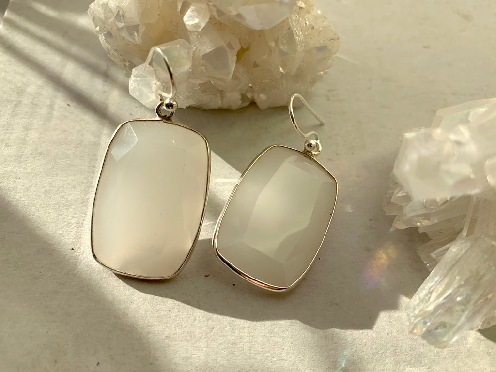 Light Grey Onyx Adora Earrings - Rectangle - Jewels & Gems