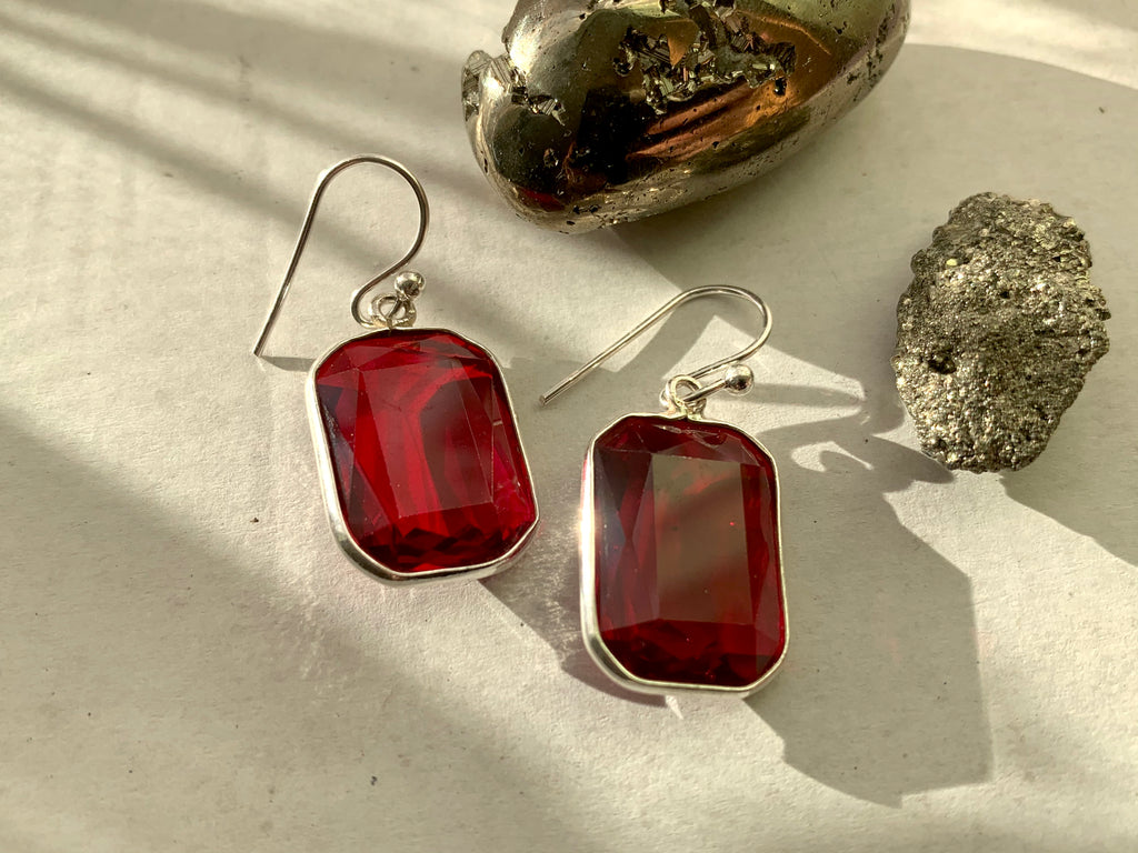 Red Quartz Adora Earrings - Small Rectangle - Jewels & Gems