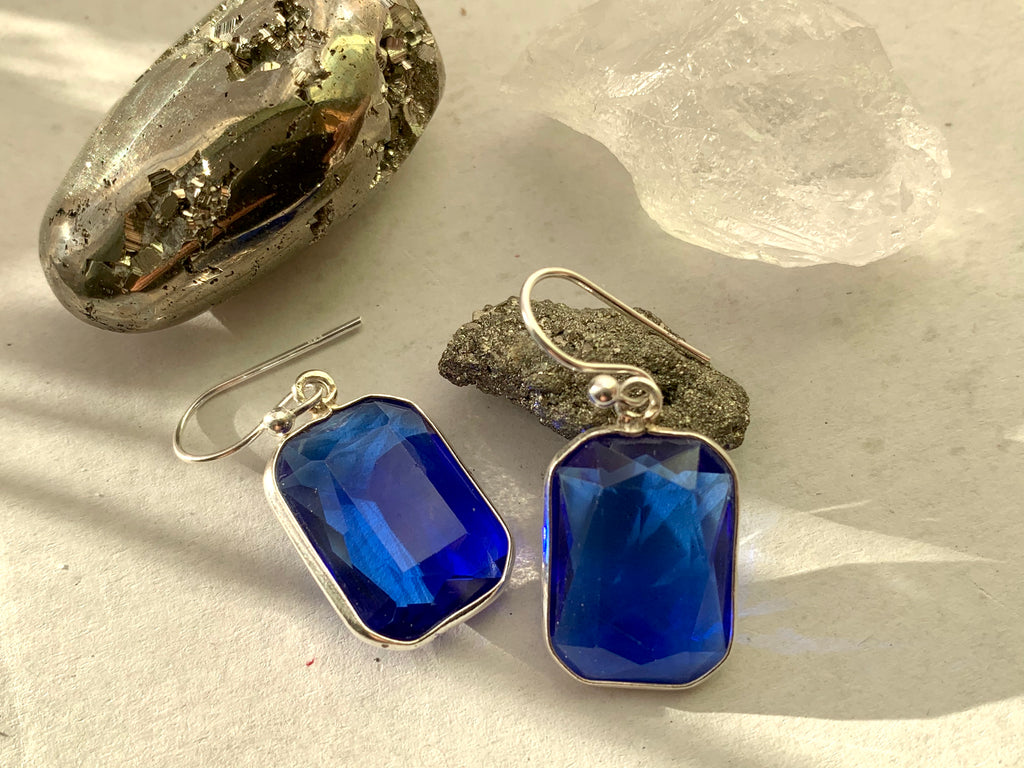 Royal Blue Quartz Adora Earrings - Small Rectangle - Jewels & Gems