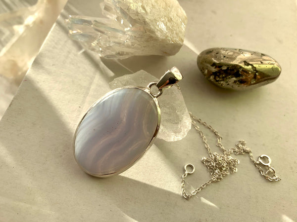 Blue Lace Agate Akoni Pendant - Large Oval - Jewels & Gems