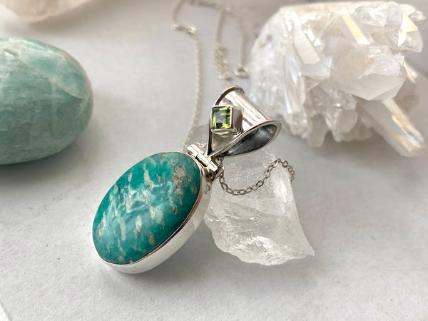Peridot + Oval Amazonite Odalis Pendant - Jewels & Gems