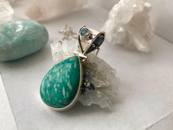 Opal + Teardrop Amazonite Odalis Pendant - Jewels & Gems