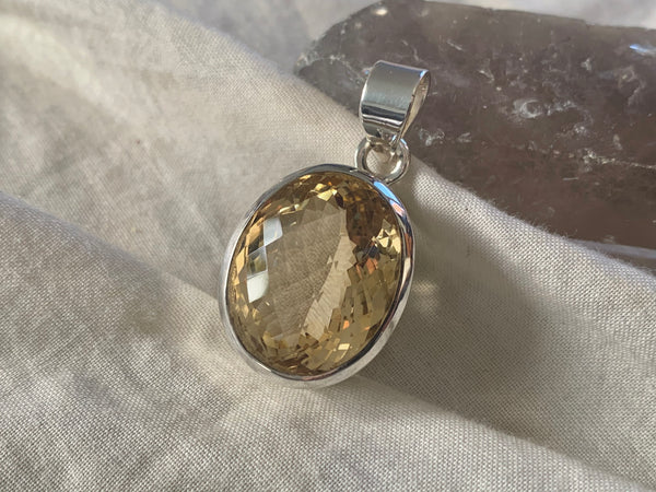 Citrine Naevia Pendant - Large Oval - Jewels & Gems
