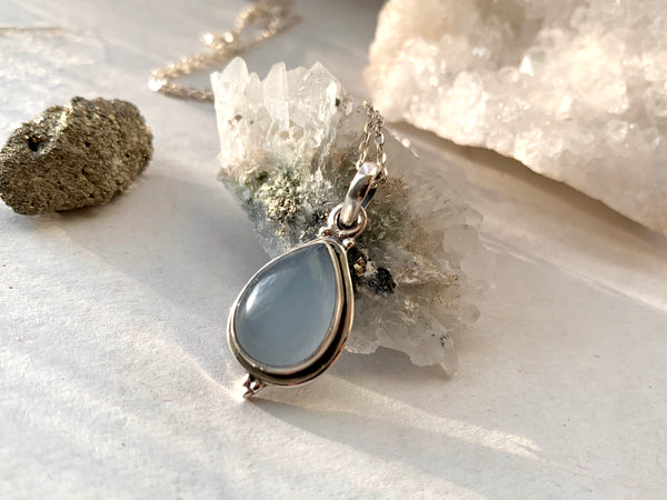 Blue Chalcedony Ari Dot Pendant - Teardrop - Jewels & Gems