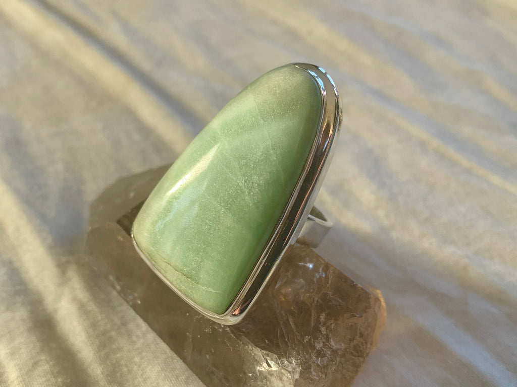 Green Aragonite Ansley Ring - XLarge Bell (US 8.5) - Jewels & Gems