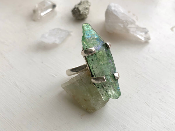 Green Aura Quartz Saana Ring