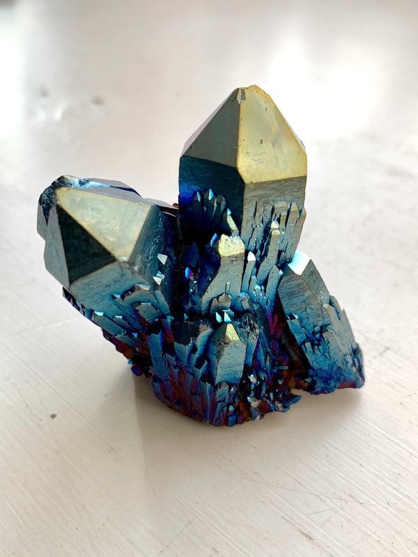 Cobalt Aura Quartz Cluster - Jewels & Gems