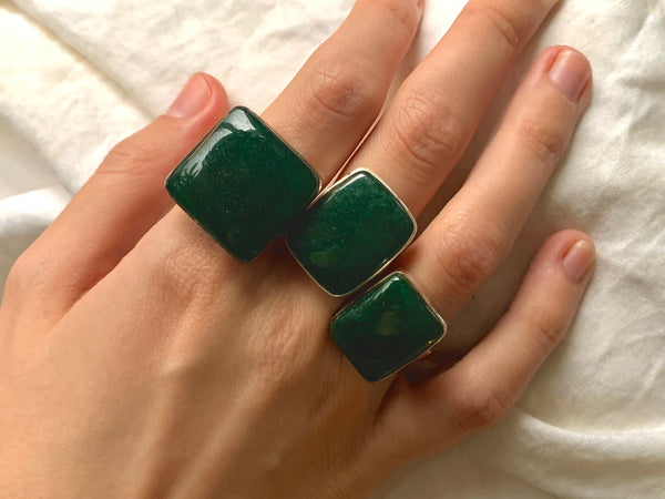 Green Aventurine Akoni Rings - Square