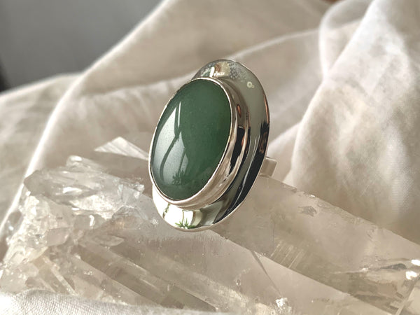 Green Aventurine Medea Ring - Large Oval - Jewels & Gems