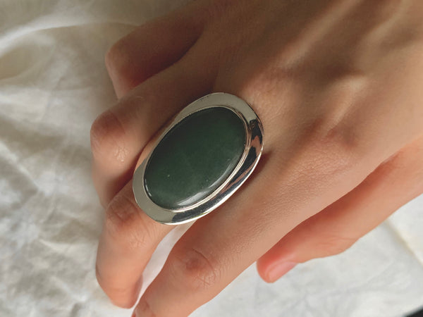 Green Aventurine Medea Ring - XLarge Oval (US 6.5)