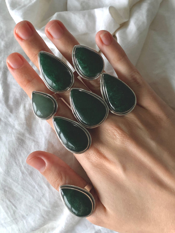 Green Aventurine Brea Rings - Teardrop