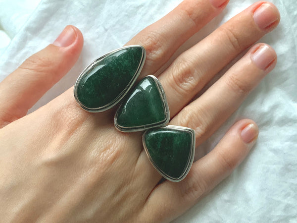 Green Aventurine Brea Rings - Mixed
