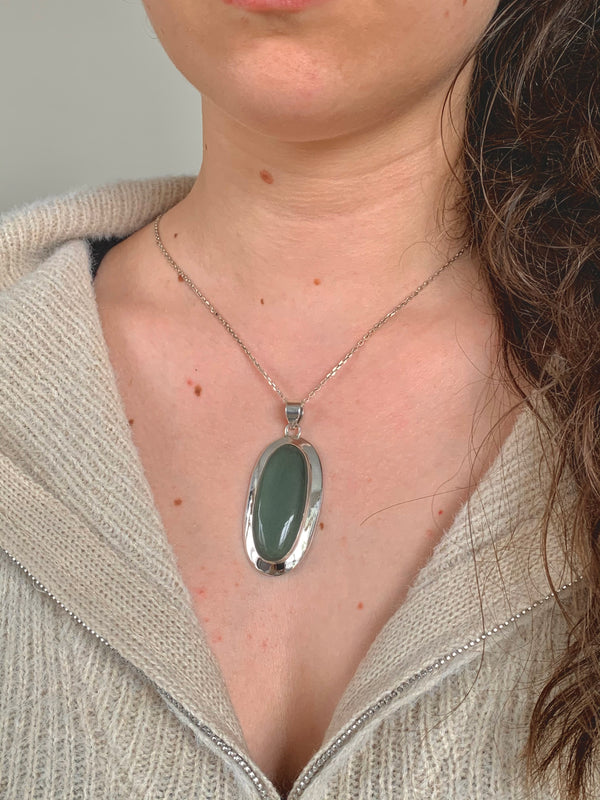 Green Aventurine Medea Pendant - Long Oval - Jewels & Gems