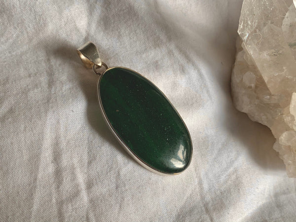 Green Aventurine Akoni Pendant - Long Oval - Jewels & Gems