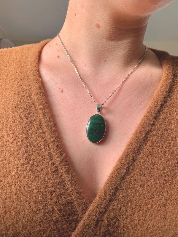 Green Aventurine Akoni Pendant - Reg. Oval - Jewels & Gems