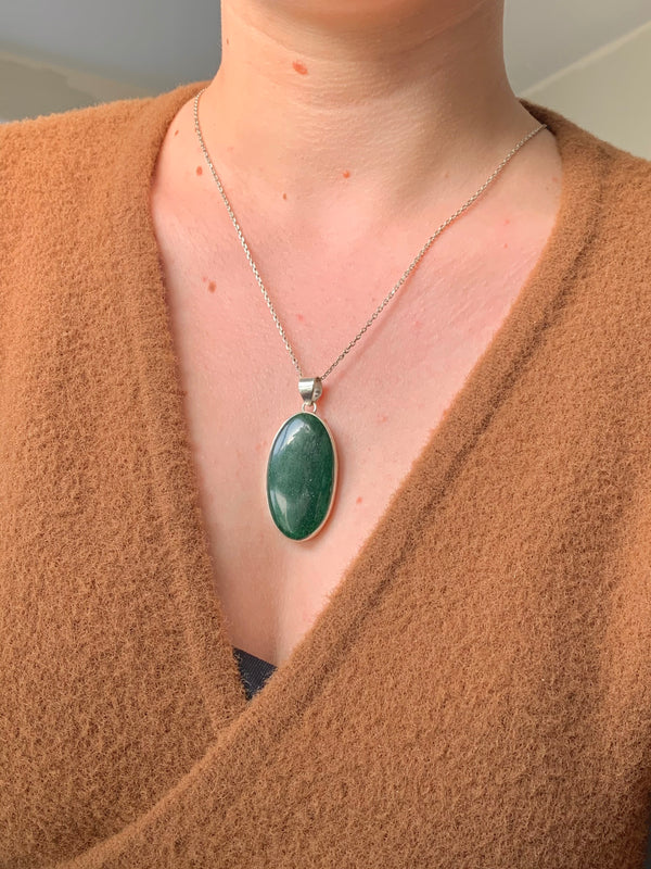 Green Aventurine Akoni Pendant - Long Oval