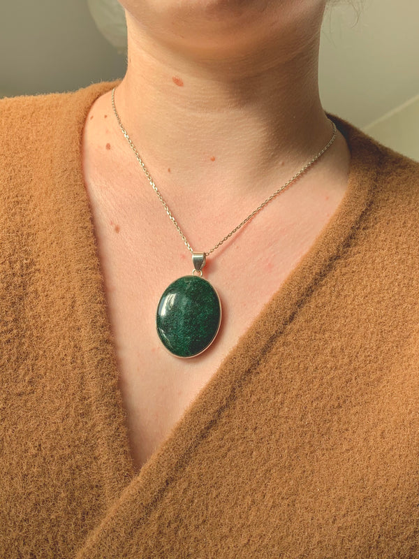 Green Aventurine Akoni Pendant - Large Oval - Jewels & Gems