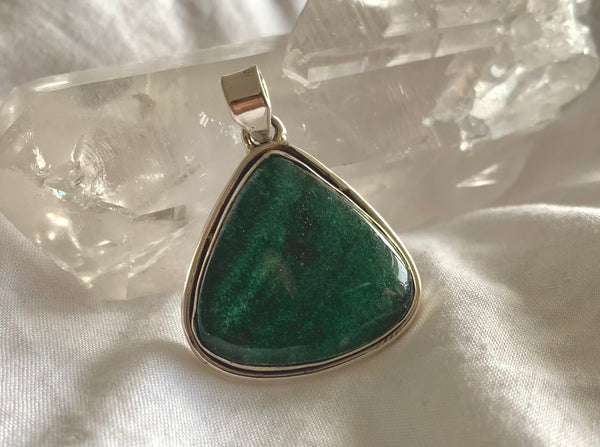 Green Aventurine Brea Pendant - Reg. Chunky Drop - Jewels & Gems