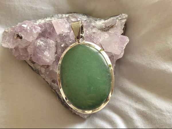 Green Aventurine Naevia Pendant - Large Oval - Jewels & Gems