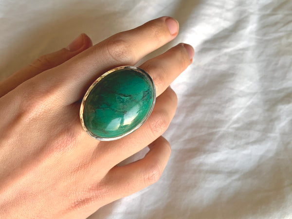Green Tibetan Turquoise Naevia Ring - XLarge Chunky Oval (US 11.5) - Jewels & Gems