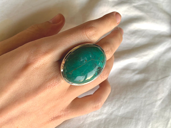 Green Tibetan Turquoise Naevia Ring - XLarge Reg. Oval (US 7.5) - Jewels & Gems