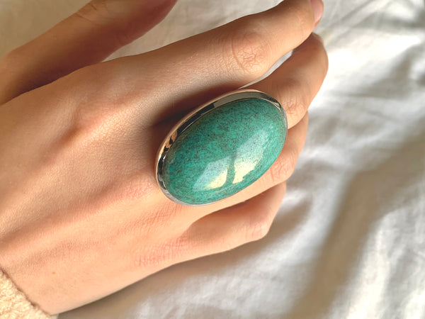 Tibetan Turquoise Naevia Ring - XXLarge Oval (US 10) - Jewels & Gems