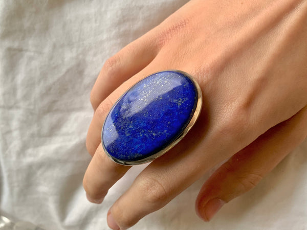 Lapis Lazuli Naevia Ring - XLarge Oval (US 8.5) - Jewels & Gems