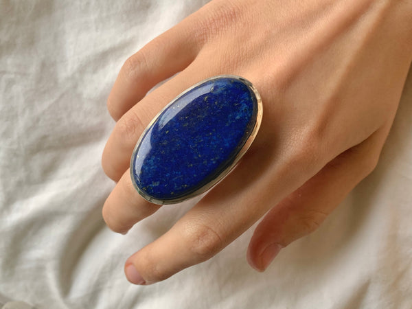 Lapis Lazuli Naevia Ring - XXLarge Oval (US 10) - Jewels & Gems